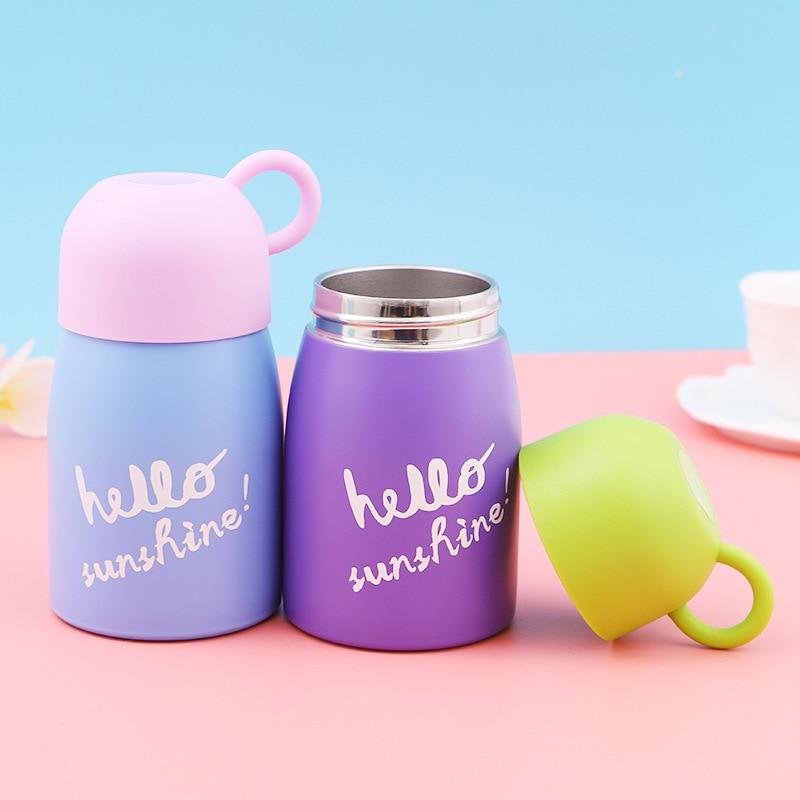 Termo de acero inoxidable de 200 ML, termo de Taza de leche, termo de vacío, botella térmica para vaso con aislamiento de agua caliente para café de niños