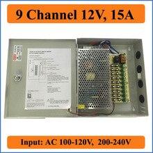 9 Port DC12V 15A CCTV Kamera Power Box Schalt Power Suply BOX für Sicherheit IP Kamera 9CH kanal AC100-240V zu DC 12V Ausgänge