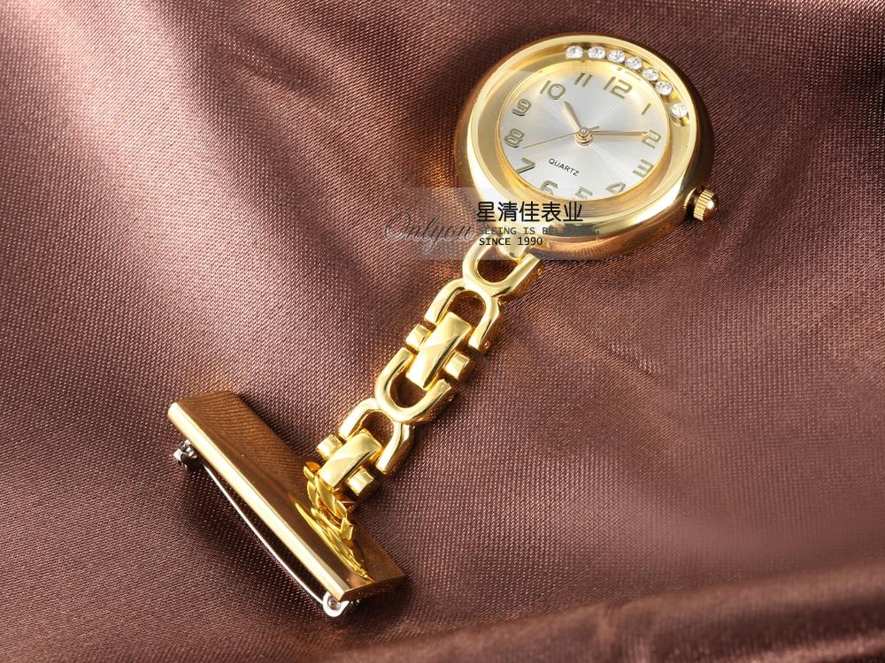 Модные золотые и серебристые женские часы с алмазной вставкой из нержавеющей стали, брошь для медсестры, Висячие часы, карманные часы, женск...