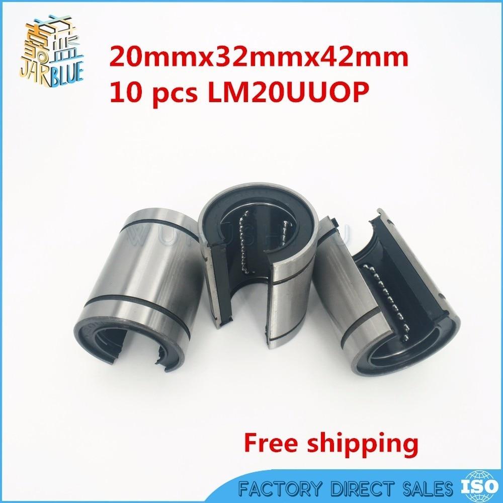 10pcs/Lot Free shipping LM20UUOP 20mm Open Type Linear Ball Bearing 20x32x42 mm Linear Bearing Bushing Linear Motion Bearing