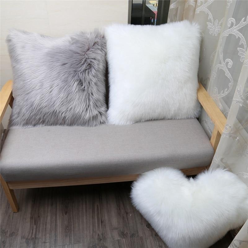 Cojín largo de felpa de respaldo del sofá para cama de coche, cojín de lujo de lana de cordero, cojín de piel de zorro sintética, almohada de terciopelo europeo para decoración del hogar