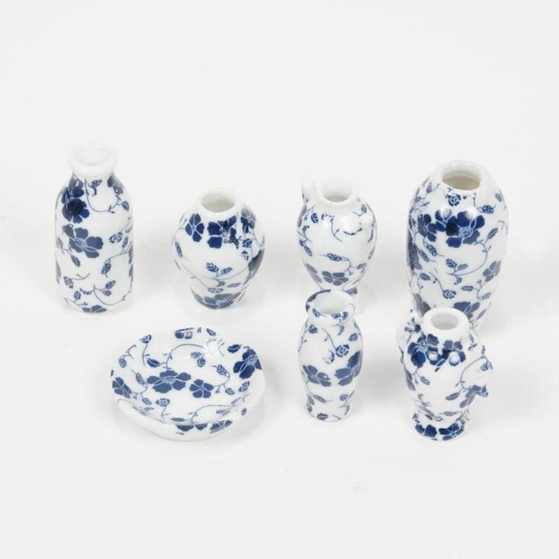 7 pçs/casa de boneca vasos miniaturas casa de bonecas antigo clássico vaso conjunto acessórios decorativos