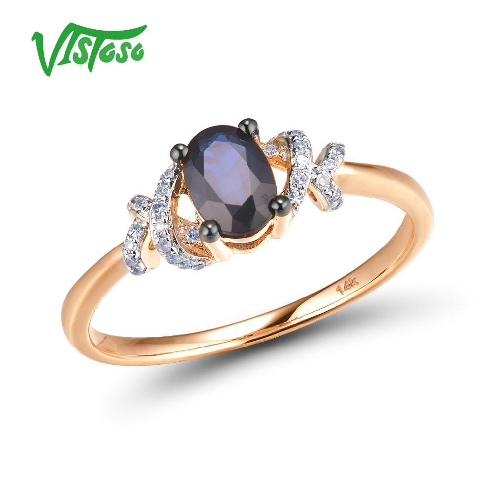 Vistoso puro 14k 585 ouro rosa brilhando diamante fantasia azul safira anel para casamento feminino noivado elegante luxo jóias finas