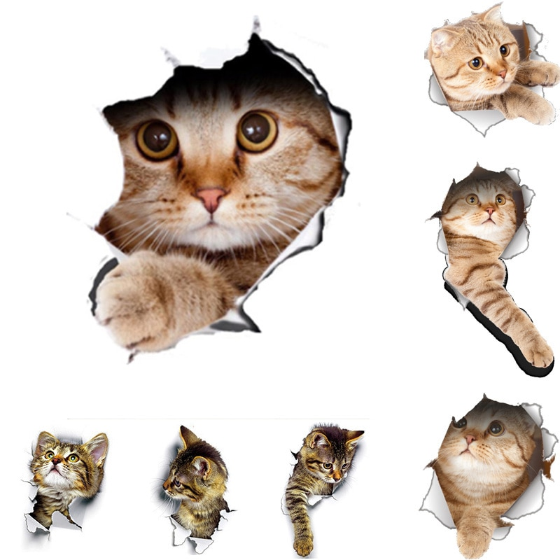 AliExpress - Cats 3D Wall Sticker Toilet Stickers Hole View Vivid Dogs Bathroom for Home Decoration Animals Vinyl Decals Art Sticker poster