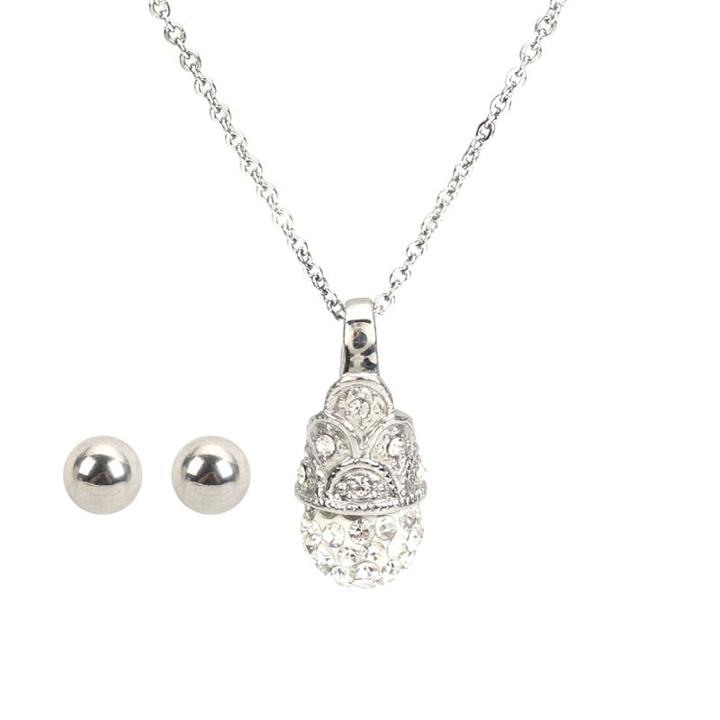 1 conjunto de brincos com colar de aço inoxidável, conjunto de brincos redondos e transparentes com strass, presente de joias de 45cm, tamanho de postagem/fio (medidor 20)