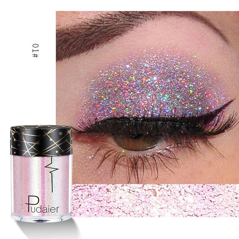 Pudaier 24 colores brillo sombra de ojos maquillaje para ojos cara fácil de llevar festival brillos diamante brillo Color sombra de brillo rico