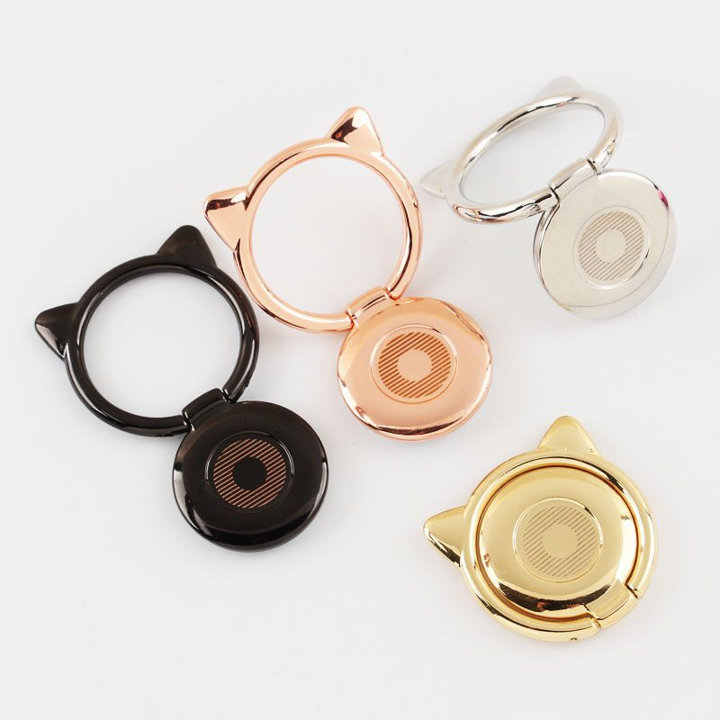 Orejas de gato de metal anillo de dedo soporte para smartphone móvil soporte para teléfono de 360 grados para iPhone iPad todo teléfono inteligente anillo de llave