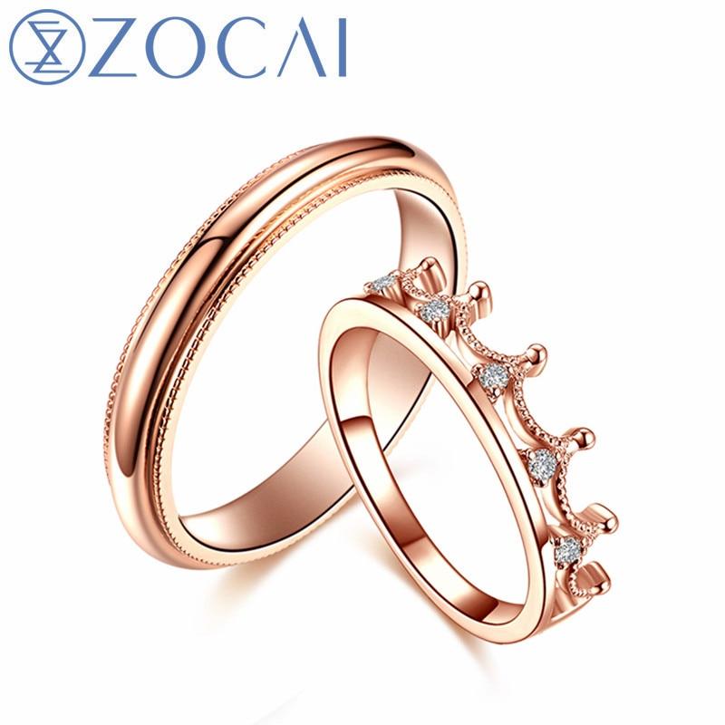 Marca ZOCAI, anillo de diamante para pareja de bodas, anillo para hombre de 0.005 CT, anillo para mujer de 0,06 CT, anillos de diamante con certificado Real JBQ00386AB