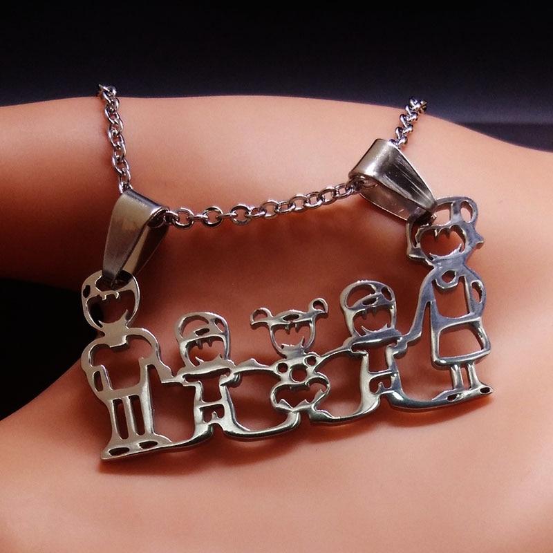 3 collares de acero inoxidable para niños y niñas, collar con colgantes de mamá para la familia, regalos de Navidad para mujeres, joyería n3180s01