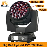 Big power LED 19X15W big bee eye moving head stage light with zoom hawkeye wash dj light single control fast shipping
