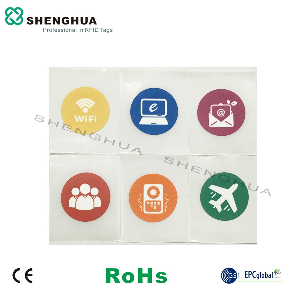 6 unids/pack envío gratis NFC pasiva RFID etiqueta Universal logotipo impreso ISO 14443a etiqueta etiquetas para llaves RFID para teléfono inteligente