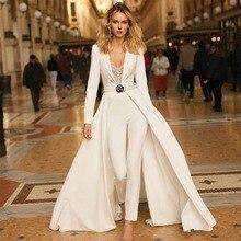 Diepe V-hals Sexy Prom Dresses 2019 Lange Mouwen Satin Designer Pant Suits Custom Made Avondjurken