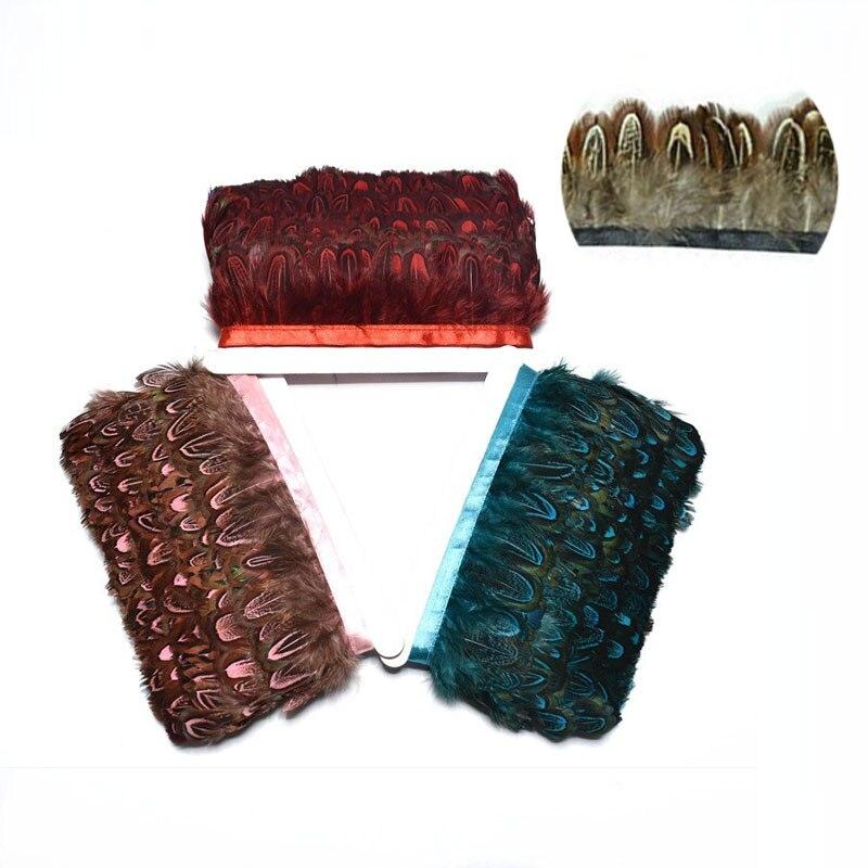1 metro de cinta de plumas de faisán de colores naturales 6CM pluma teñida flecos elegantes DIY para ropa vestido plumas accesorios de boda