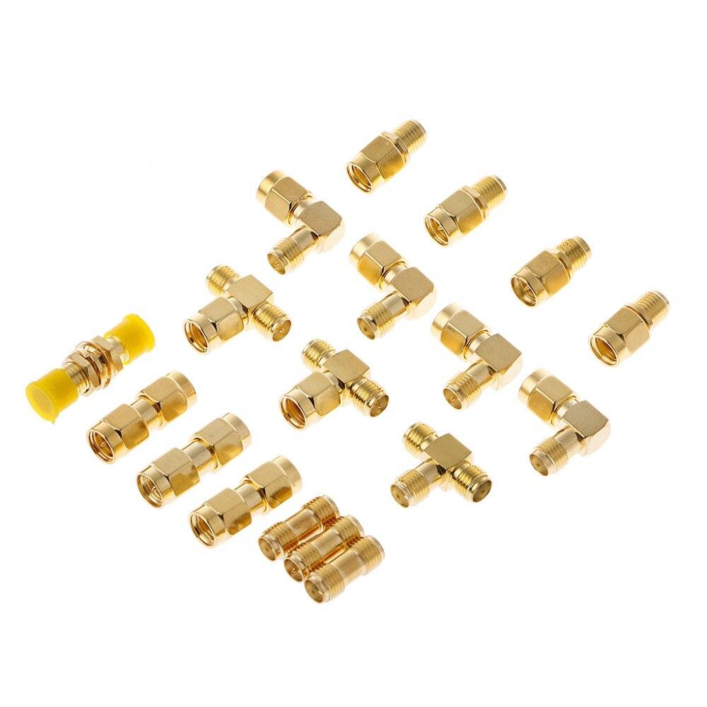 18 unids/set de kits de conectores macho hembra SMA antena enchufable convertidor adaptador Coaxial