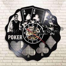 1 pièce Casino Poker Blackjack jeu pari pari vinyle Record horloge murale carte à jouer moderne jeu de jeu décor horloge murale