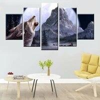 Tableau modulaire moderne avec animaux  loup  lune  nordique  neige  montagne  peinture de paysage sur toile  cadre de decoration murale pour la maison  5 pieces