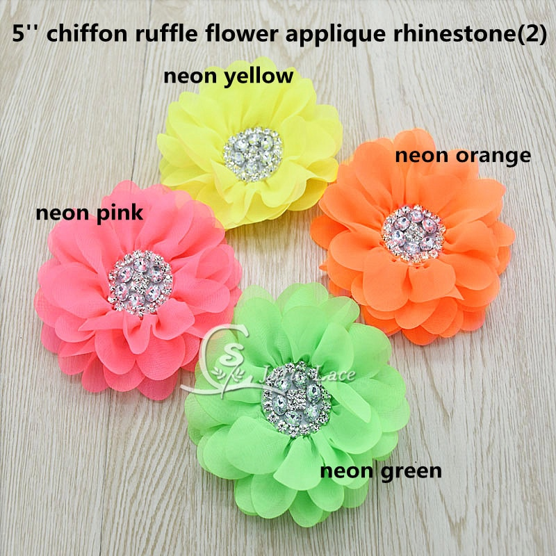 15pcs /lot Large rhinestones center shabby chiffon Flower with beads , handmade pearl center flowers in Neon color 100pcs lot 3 20colors diy polyester fluffy ballerina chiffon flower with pearl button in centre handmade accessories
