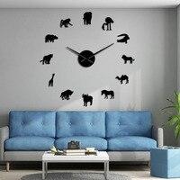 African Animals Silhouette Wall Stickers African DIY Wall Art Large Wall Clock Safari Wildlife Animal Giant Wall Decor Clock