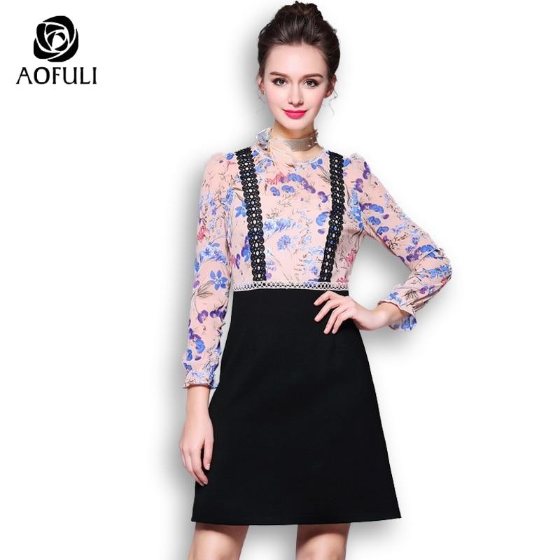 Платье с цветочным принтом для женщин, платье с длинным рукавом в стиле пэчворк, большого размера, с фальш-ремешком, короткое платье AOFULI 1071