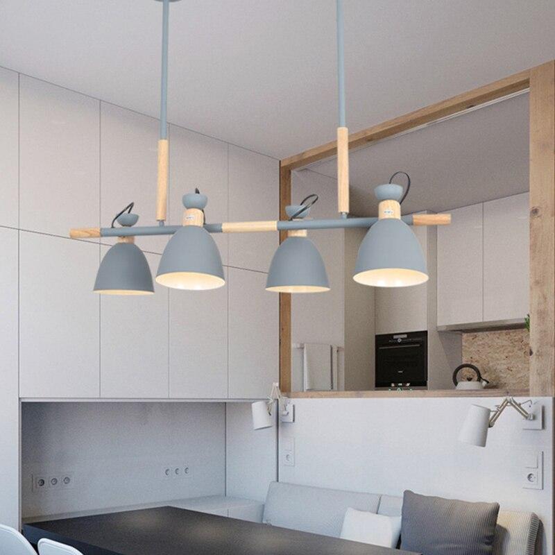 Placa de techo de madera de dos cabezas 4 cabezas candelabro para cocina dormitorio sala de estar restaurante Hotel nórdico personalidad creativa