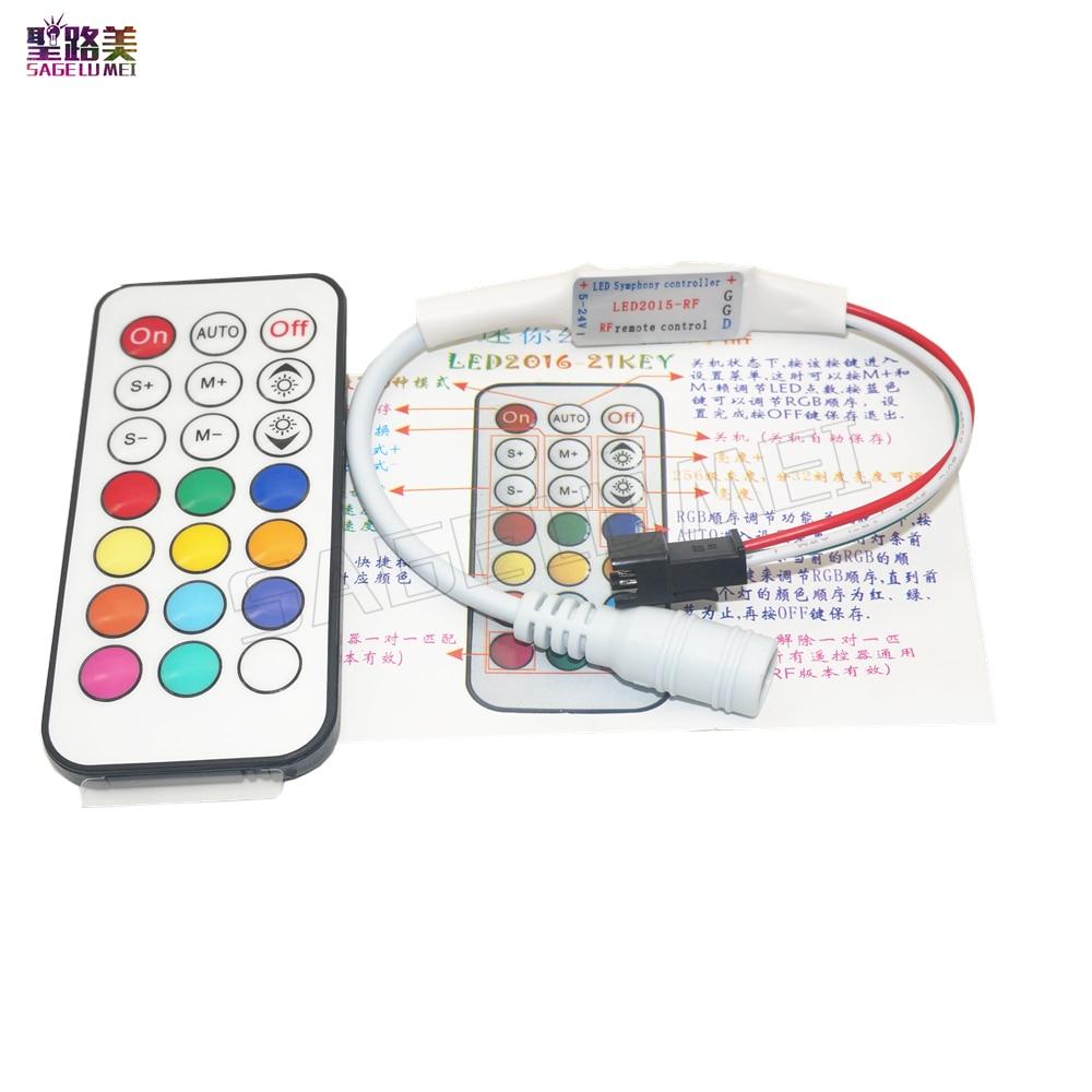 Para tira de Led RGB a todo Color cinta ligera 21 teclas DC5V 12V WS2811 WS2812 1903 RF controlador LED Pixel controlador