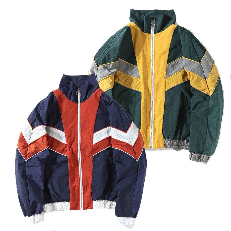 Mannan vintage colorido cor bloco retalhos blusão jaquetas 2018 outono hip hop streetwear zip up pista jaquetas casuais