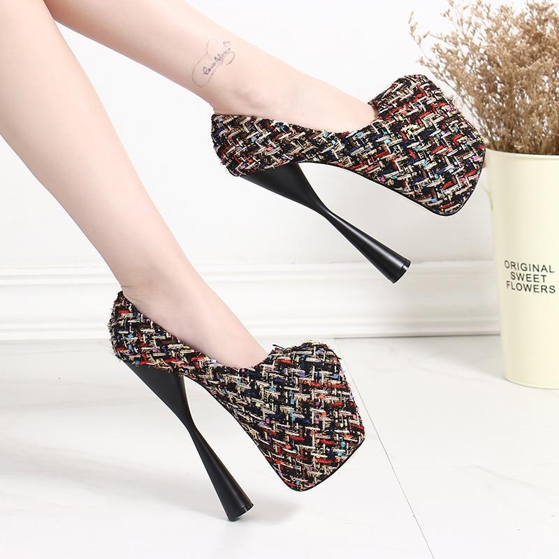 Zapatos de tacón súper alto de 18cm para mujer, zapatos de plataforma concisos de 8 CM, zapatos de tacón, zapatos de cuero sexis para fiesta de boda, zapatos uik90