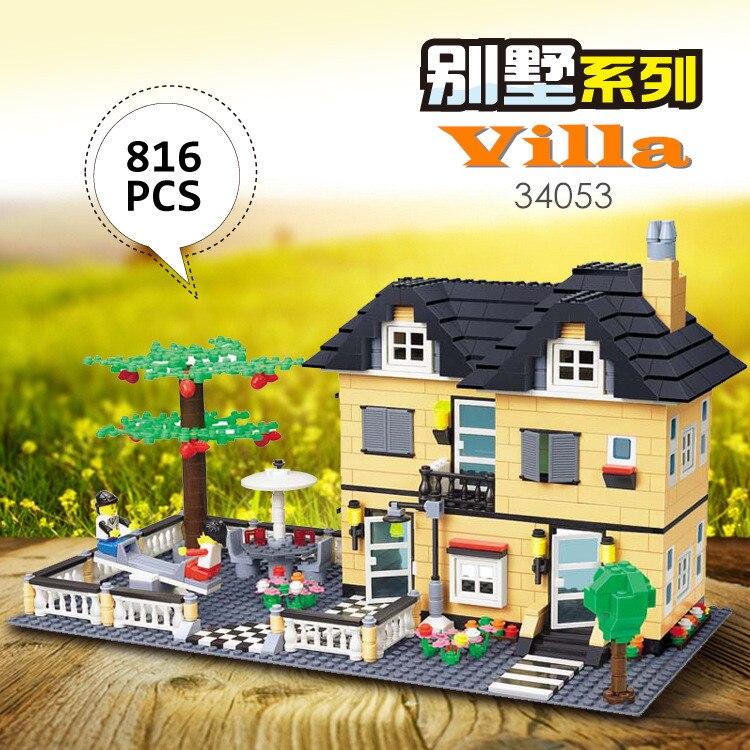 Bloques Wange, bloques de construcción de Casa de ciudad modelo Villa de lujo, bloques de construcción de casa, juguetes de Ladrillos educativos para niños 34053