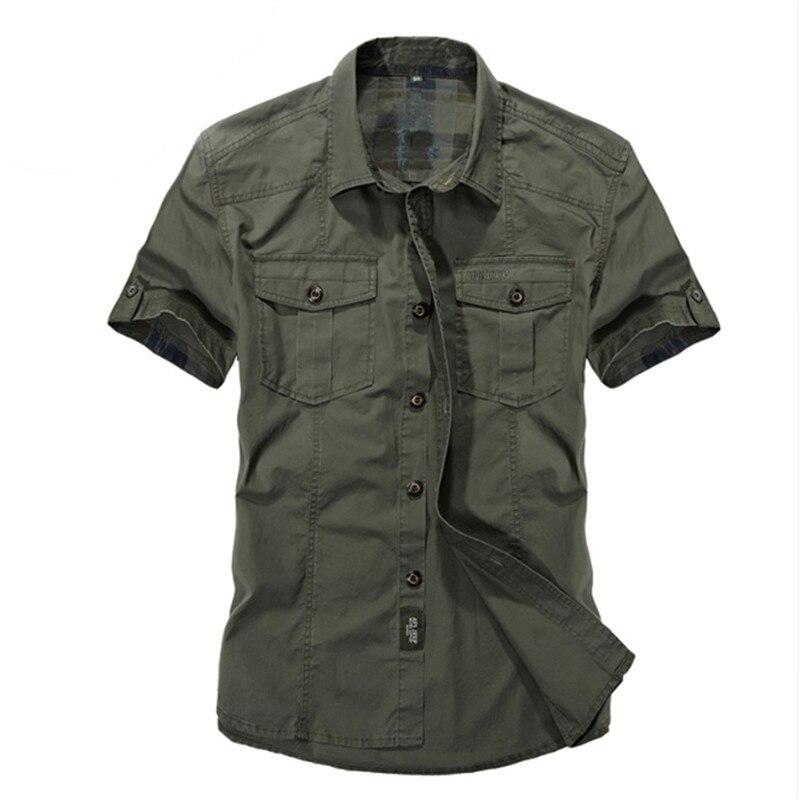الذكور الربيع الصيف الكاكي قصيرة الأكمام القطن مصمم تنفس براندي فستان غير رسمي قميص الذكور يتأهل قمصان النمط العسكري