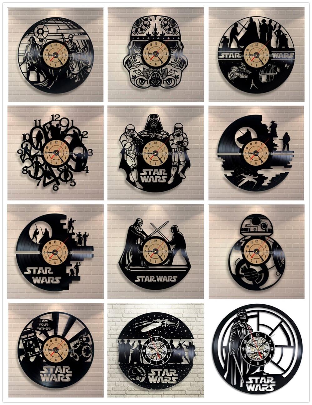 Star wars 3d relógio de parede vinil registro relógio criativo pingente decoração para casa