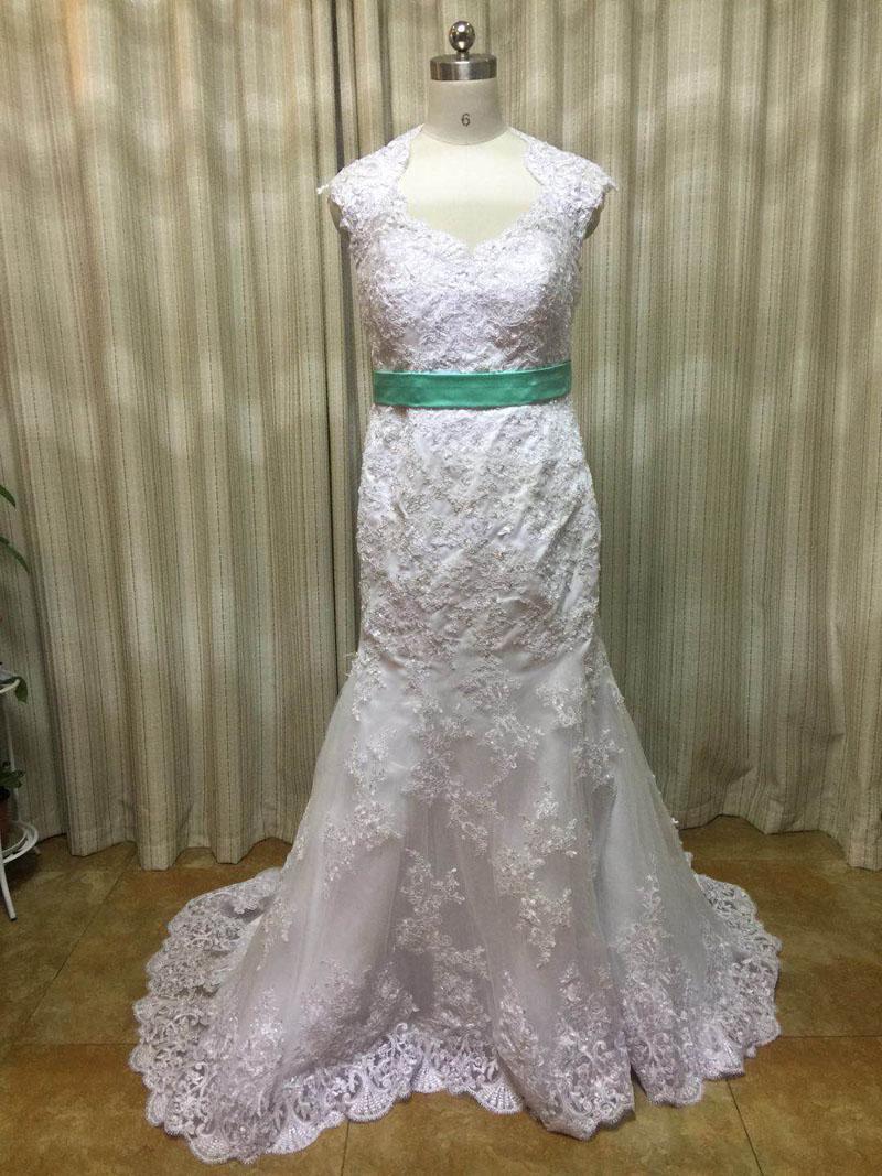 2019 Encaje Vintage sirena Vestido de boda Vestido de Novia de apliques...