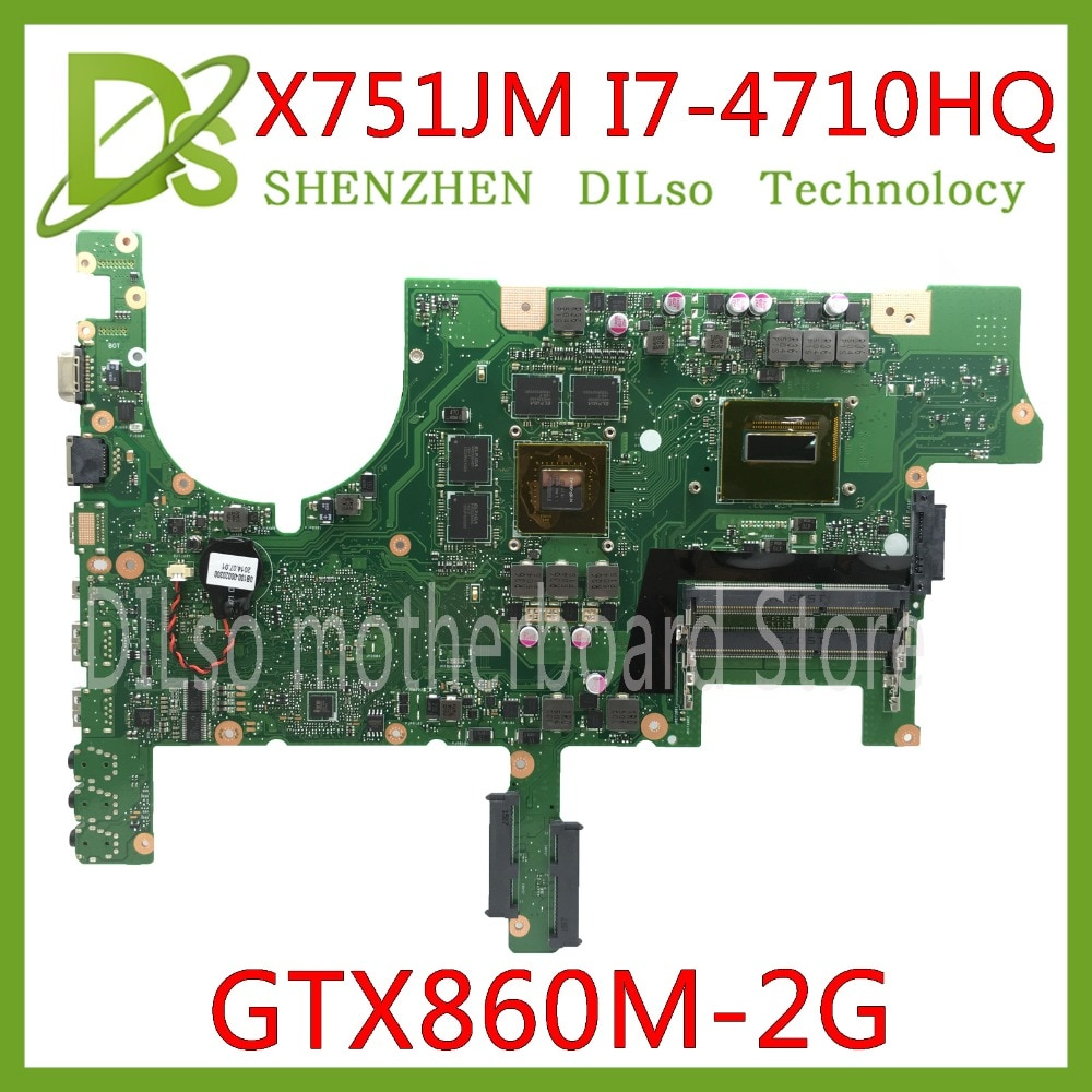 Placa base KEFU G751JM para ASUS G751JM G751J placa base para ordenador portátil con tarjeta gráfica GTX860M i7-4710hq 100% de trabajo de prueba de cpu