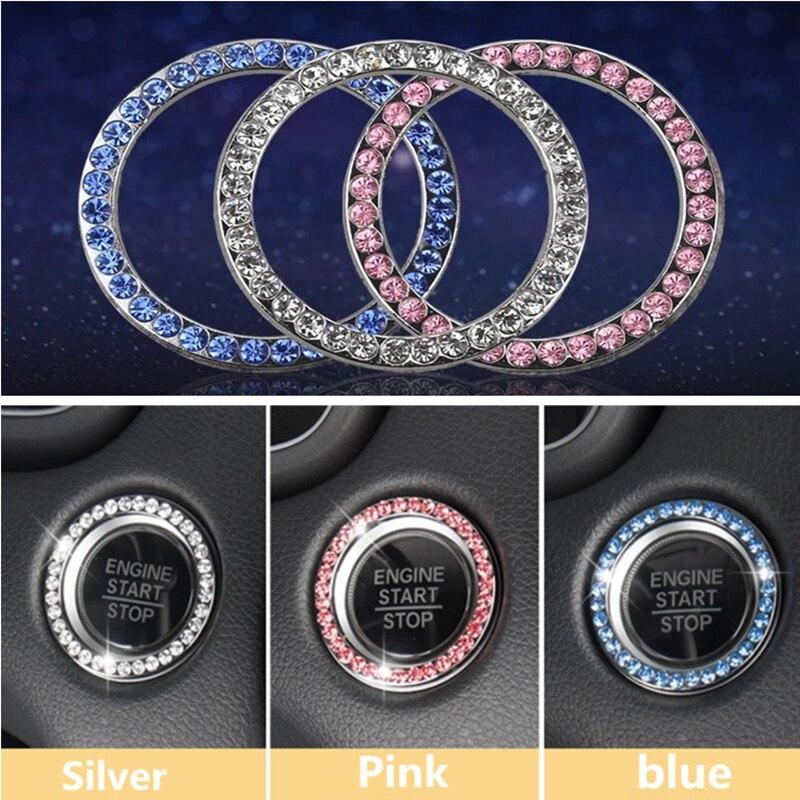 De moda de diamantes de imitación de cristal, decoración de parada de arranque de motor de coche clave anillo para Hyundai IX35 IX45 Sonata Verna Solaris Elantra Tucson Mistra