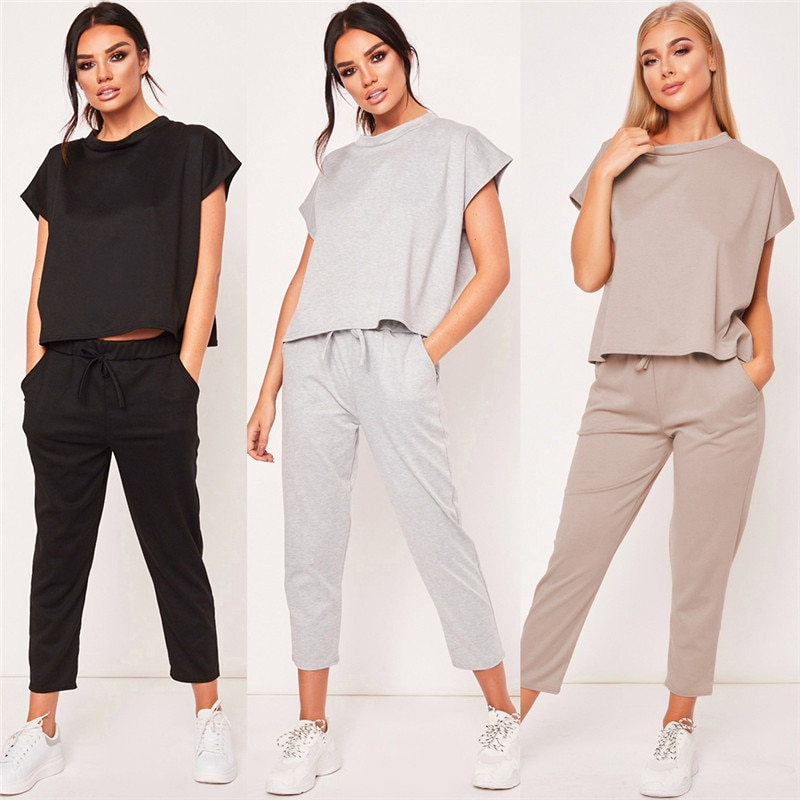 2PCS Women Summer Tracksuits Set Short Sleeves Round Neck Lounge Wear Ladies Solid Tops Suit Pants Plus Size Sports Yoga#293977