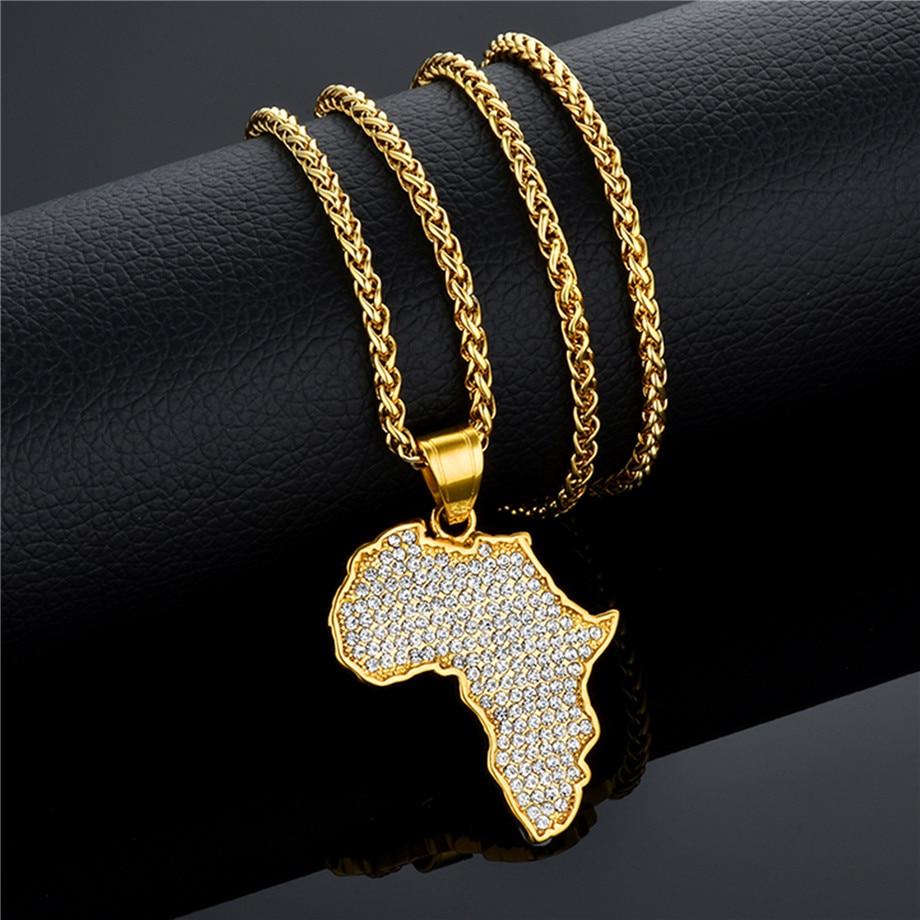 África mapa pingente colar bling jóias para homens mulheres etíope jóias atacado mapas africanos hiphop item de aço inoxidável