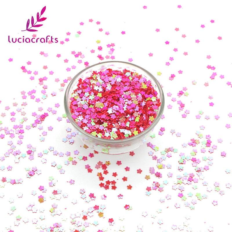 Decoración DIY D0111 para bodas/fiestas/uñas/Decoración de manualidades con lentejuelas arcoíris en escamas con forma de flor de 10g3mm
