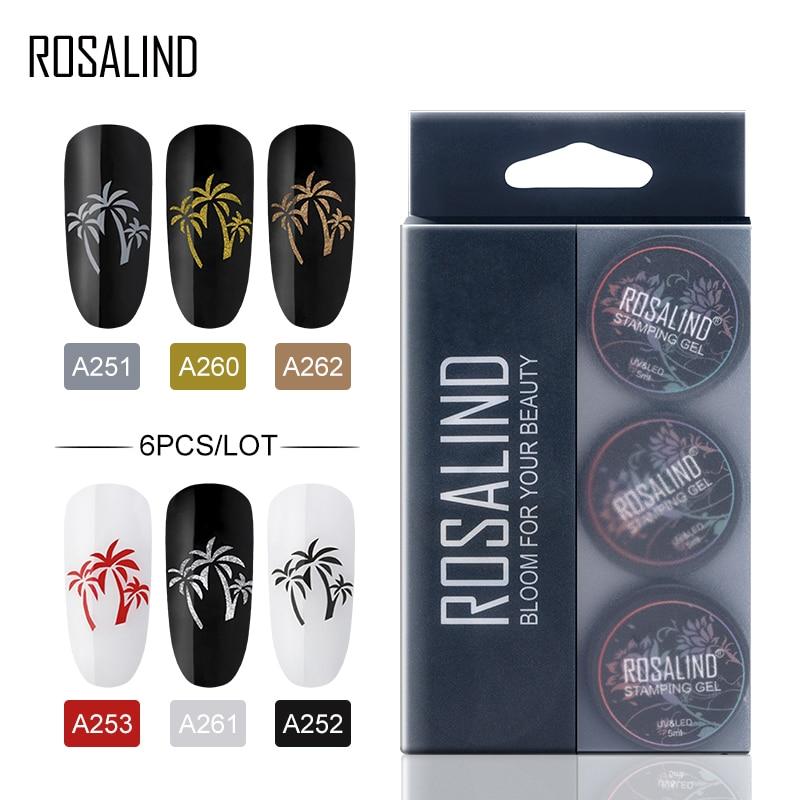 ROSALIND Gel Polish Set Spider Platinum Varnish Hybrid Stamp Acrylic Nail Kit All For Manicure Paint Gel Nail Polish 6PCS/Set
