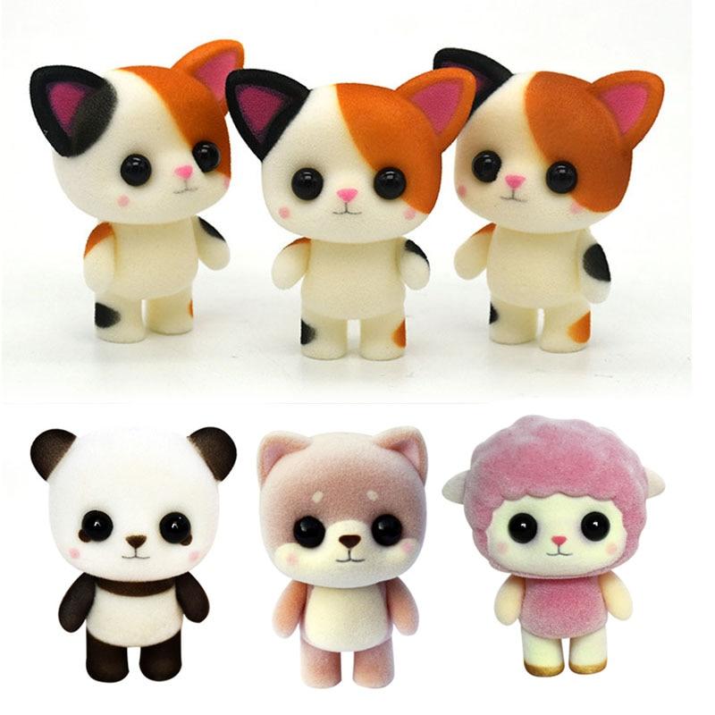 Милая кошка креативный благоприятный подарок плюшевая кукла пластиковая флокирующая игрушка Meng Pet маленькая кошка панда ягненок подарок на день рождения G0369