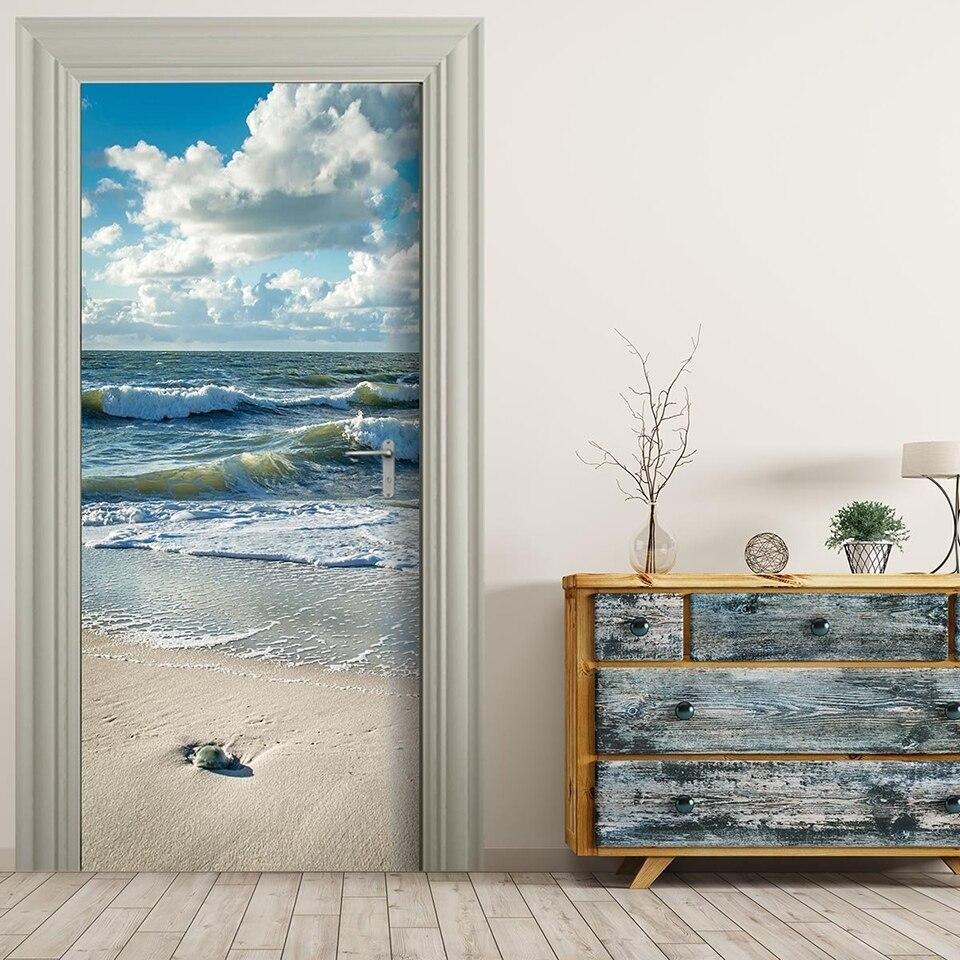 Auto adesivo 3d papéis de parede renovação seascape praia diy pvc adesivos porta à prova dwaterproof água decoração para casa decalque impressão arte imagem