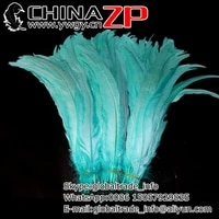 chinazp factory wholesale 500pieceslot length 3035cm1214inch top quality dyed aqua blue chicken rooster tail feathers