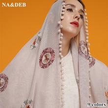 1 pc 9 색 우아한 디자인 pompom 목도리 여성 자 수 스카프와 shawls 패션 자 수 꽃 머플러 소프트 fourlard hijab
