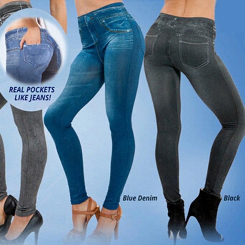 Leggings de mezclilla para mujer pantalones vaqueros con bolsillo ceñidos Leggings de Fitness S-XXL negro/gris/azul