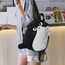 Sac à dos femme mignon chat noir toile sac décole voyage sacs à dos femmes toile sac à dos poignée supérieure sacs voyage sac à dos Mochila