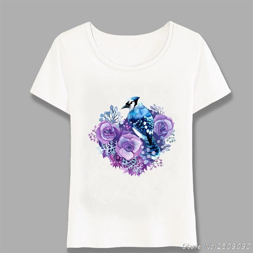 Camiseta con estampado de acuarela azul euroasiático de Jay y violeta, camiseta de verano a la moda para mujer, Tops casuales, camisetas bonitas para mujer, Harajuku