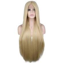 QQXCAIW-perruque Lace Front Wig synthétique   Perruques blondes mixtes longues et lisses en Fiber résistante à la chaleur pour femmes