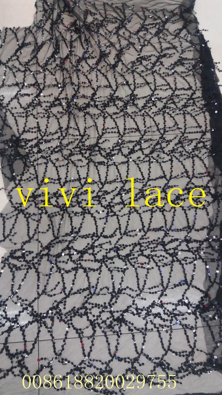TT005 negro/plata/oro flecos borla bordado de lentejuelas tul francés encaje de malla para serrar/boda/vestido de noche/fiesta