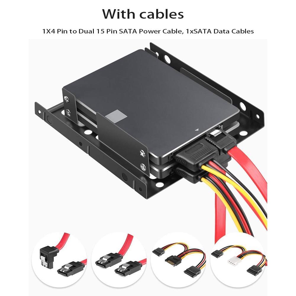 Кронштейн монтажный для внутреннего жесткого диска 2,5 дюйма SSD на 3,5 дюйма (Кабели SATA для передачи данных и кабели питания в комплекте)