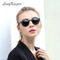 hot sale men mirror polarized sunglasses women round black frame sport glasses unisex driving eyewear by long keeper 1061