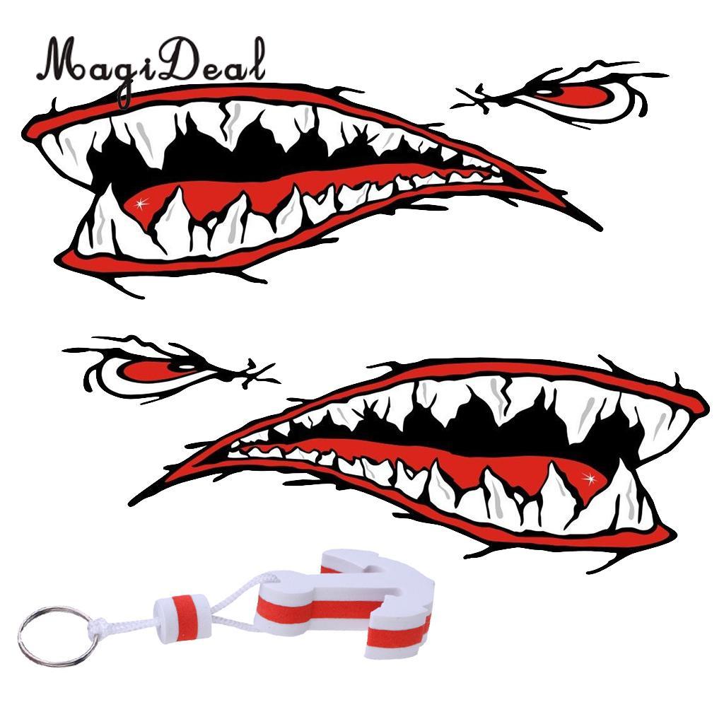 MagiDeal 2x Shark Teeth Mouth Decal Stickers Kayak Canoe Jet Ski Hobbie Ocean Boat + White Anchor Floating Key Ring Key Float