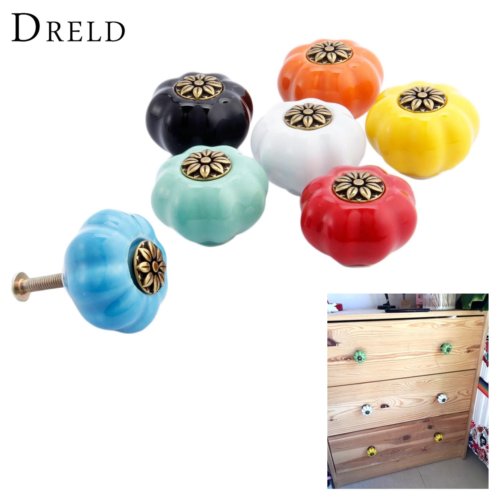 DRELD Pumpkin Furniture Handle Ceramic Door Knob Cupboard Drawer Cabinet Knob and Handles Kitchen Pull Handle Furniture Hardware